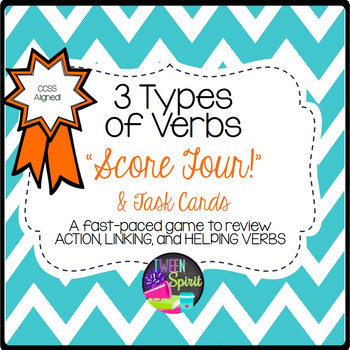 Verbs- 3 Types: Action, Linking, and Helping Task Cards & Games