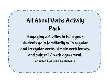 Verbs: 3rd Grade CCSS ELA Language: Irregular & Regular; S