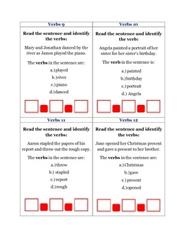 Verbs: 42 Common Core Standard ELA-Literacy.L.2.1d, L.3.1d and L.3.1e Task Cards