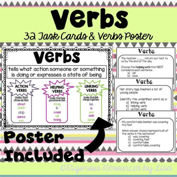 Verbs Poster and Task Cards