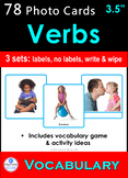 Photo Vocabulary Cards *78 VERBS* Speech Therapy Autism Sp Ed ESL