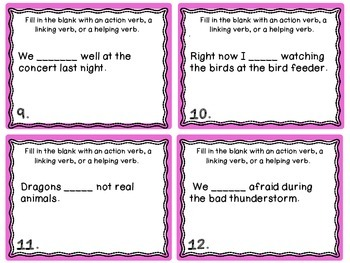Verbs {Action, Helping, and Linking} Task Cards