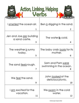 Verbs, Action Linking Helping Activity