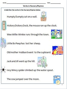 Action verb worksheets grade 2