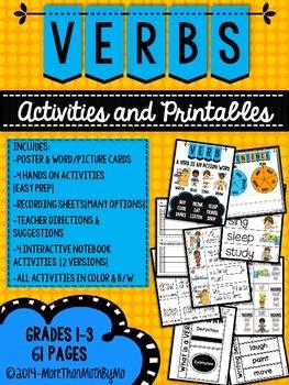 Verbs: Activities and Printables {Grades 1-3}