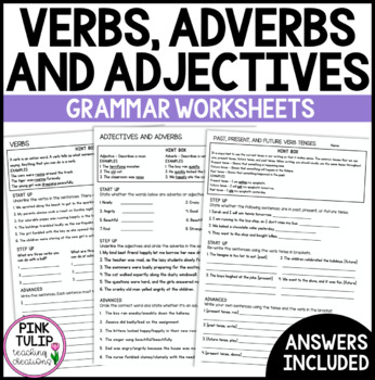 Verbs, Adjectives, Adverbs and Tense - Grammar Worksheets with Answers