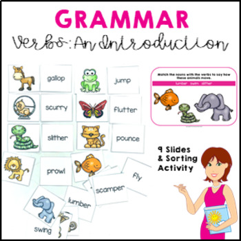 An Introduction to Verbs activity, worksheet and poster se