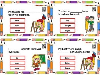 Verbs - Back to School Verbs Task Cards w/ QR Codes!