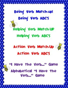 Verbs: Being, Helping, Action (activities, games, assessments, charts, more)