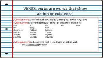 Verbs Bell Ringer or Quick Review