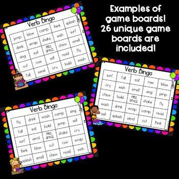 Verbs Bingo Game