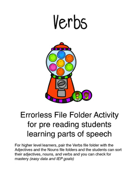 Verbs-Bubblegum-Errorless File Folder Activity for pre reading students