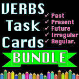 Past Present and Future Verb Tenses + Irregular Verbs BUNDLE of Task Cards