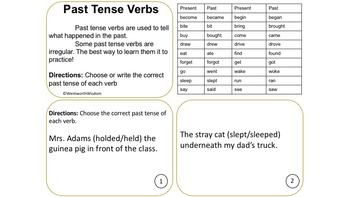 Past Present and Future Verb Tenses + Irregular Verbs BUNDLE of Task Cards