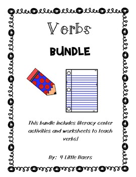 Verbs Bundle! - Literacy Centers and Worksheets, Including Helping Verbs
