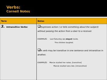 Verbs Cornell Notes