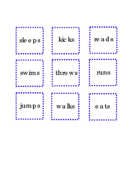 Verbs Cut and Paste Critical Thinking Literacy Reading Comprehension English