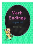 Verbs Ending with ing and ed Practice Set for First Grade