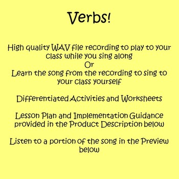 Verbs! - Exciting Song as a Lesson Starter - Plans, Worksheets, and Activities