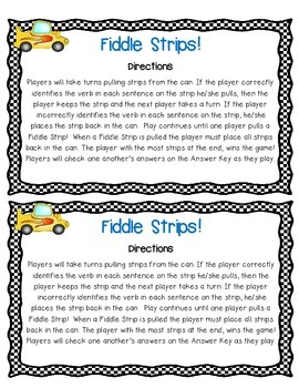 Verbs Fiddle Strips! Game