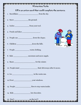 Verbs - Fill in a verb (Winter and Christmas)