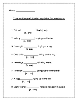 Verbs- Fill in the Blank