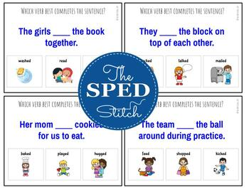Verbs: Fill in the Sentence Task Cards (Parts of Speech)