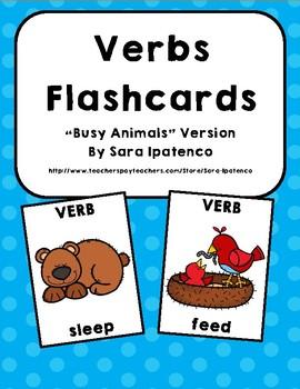 Verbs Flashcards: Busy Animals Version