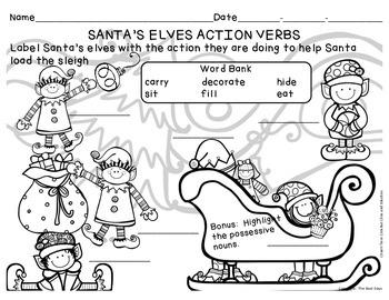 Verbs Freebie:  Load Santa's Sleigh!