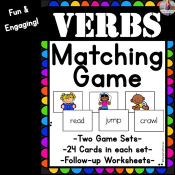 Verbs Game: Matching/Memory (+follow-up worksheets!)
