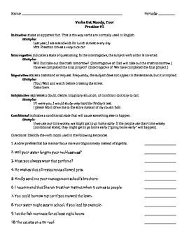 Verbs Get Moody, Too! - Practice Worksheet #1 ONLY