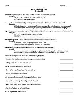 Verbs Get Moody, Too! - Practice Worksheet #2 ONLY