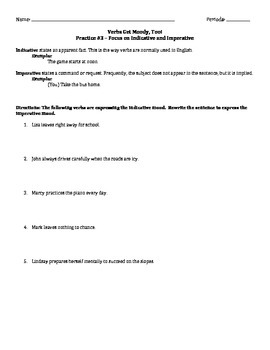 Verbs Get Moody, Too! - Practice Worksheet #3