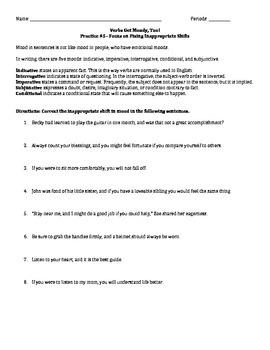 Verbs Get Moody, Too! - Practice Worksheet #5