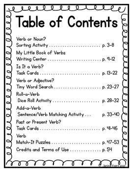 Verbs: Grammar Centers and Activities