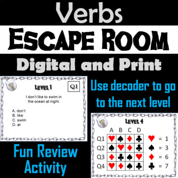 Verbs: Grammar Escape Room - English