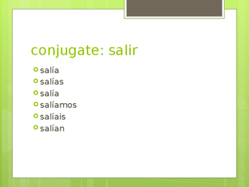 Verbs-Imperfect Conjugation Practice