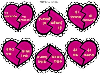 Verbs In Action! - Matching Game with Worksheets for DUAL Language - Hearts