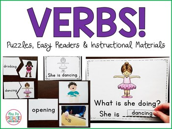 Verbs: Interactive books, flashcards, and centers