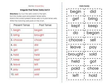 Verbs: Irregular Past Tense Verbs Sort and Key (4 of 6)