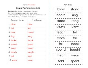 Verbs: Irregular Past Tense Verbs Sort and Key (6 of 6)