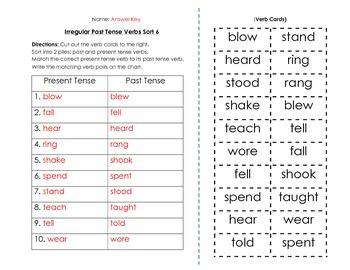 Verbs: Irregular Past Tense Verbs Sort and Key (6 of 6)