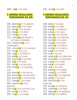 Verbs List in Spanish. PDF Document.