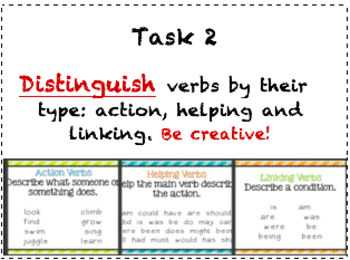 Verbs: Notecard Tasks (Differentiated - Blooms Taxonomy)