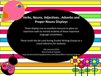 Verbs, Nouns, Adjectives, Adverbs and Proper Nouns Displays