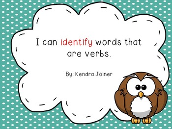 Identifying Verbs: PPT, Practice Pages, Word Sort