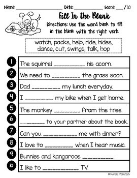 Verbs Packet with Animal Clip Art