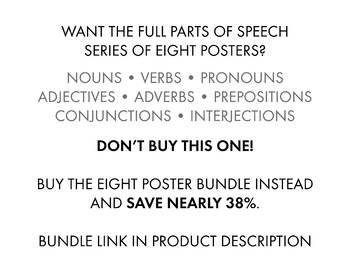 Verbs, Parts of Speech Poster for Teens & Secondary Classrooms, Grammar Poster