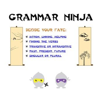 Verbs Parts of Speech Review Game PowerPoint - Grammar Ninja