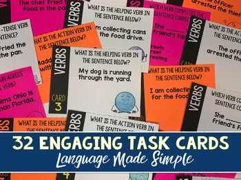 Verbs - Parts of Speech Task Cards